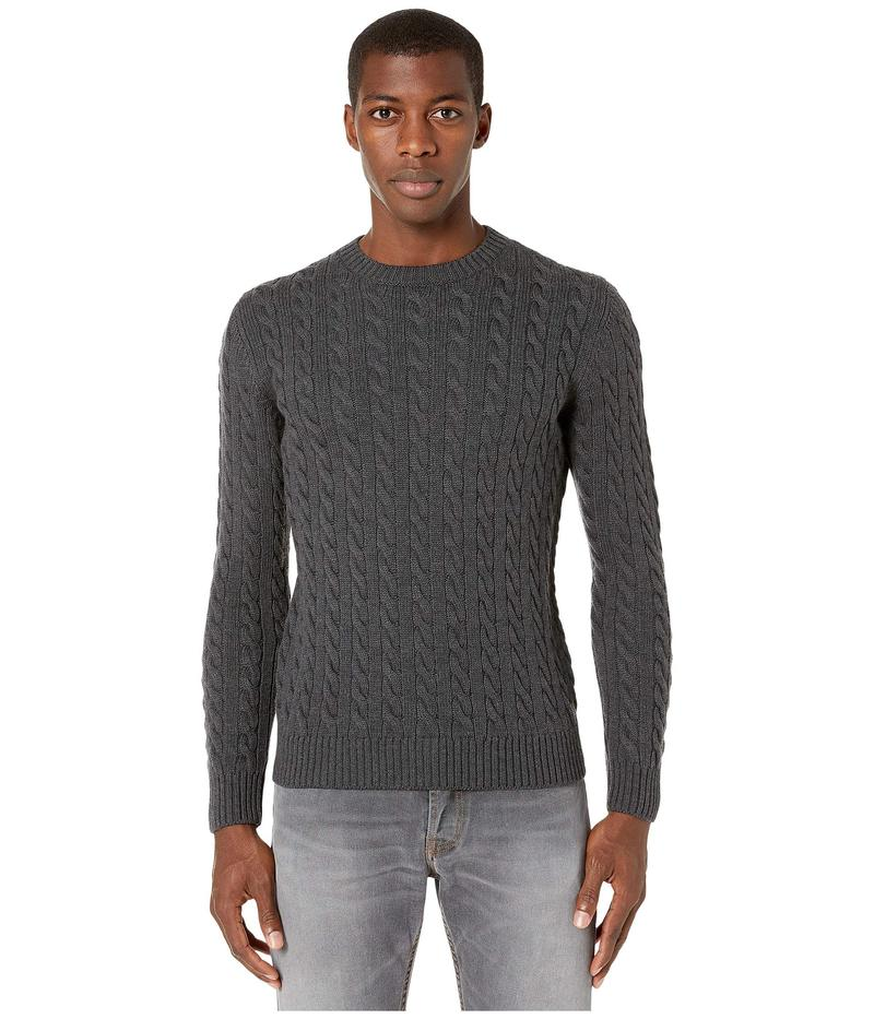 イレブンティ メンズ ニット・セーター アウター Crew Neck Cable Sweater Medium Grey Melange