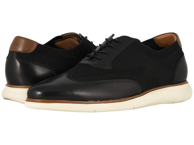 フローシャイム メンズ オックスフォード シューズ Fuel Knit Wing Tip Oxford Black Smooth w/ White Sole