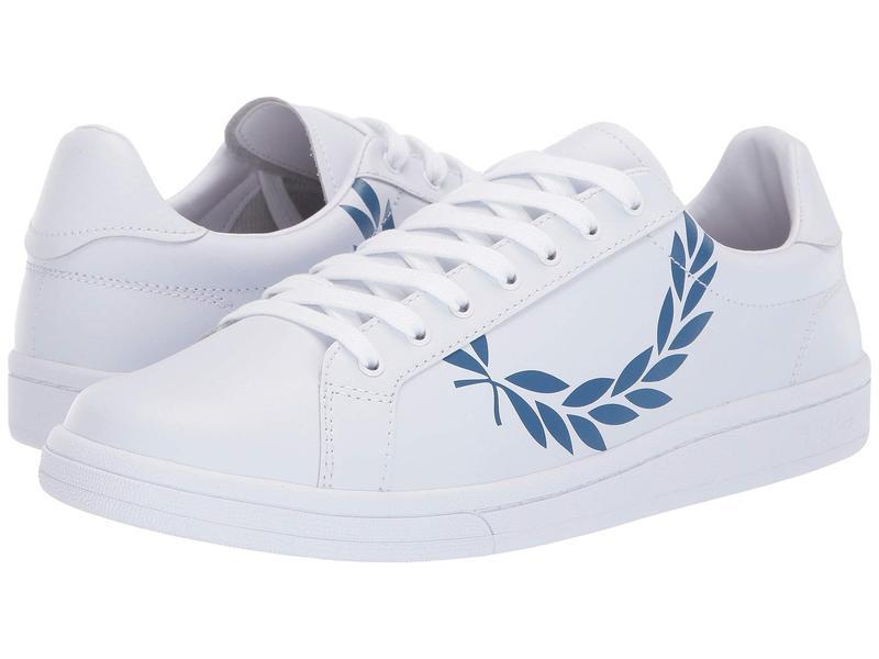 フレッドペリー メンズ スニーカー シューズ B721 Printed Laurel Leather White/Mid Blue