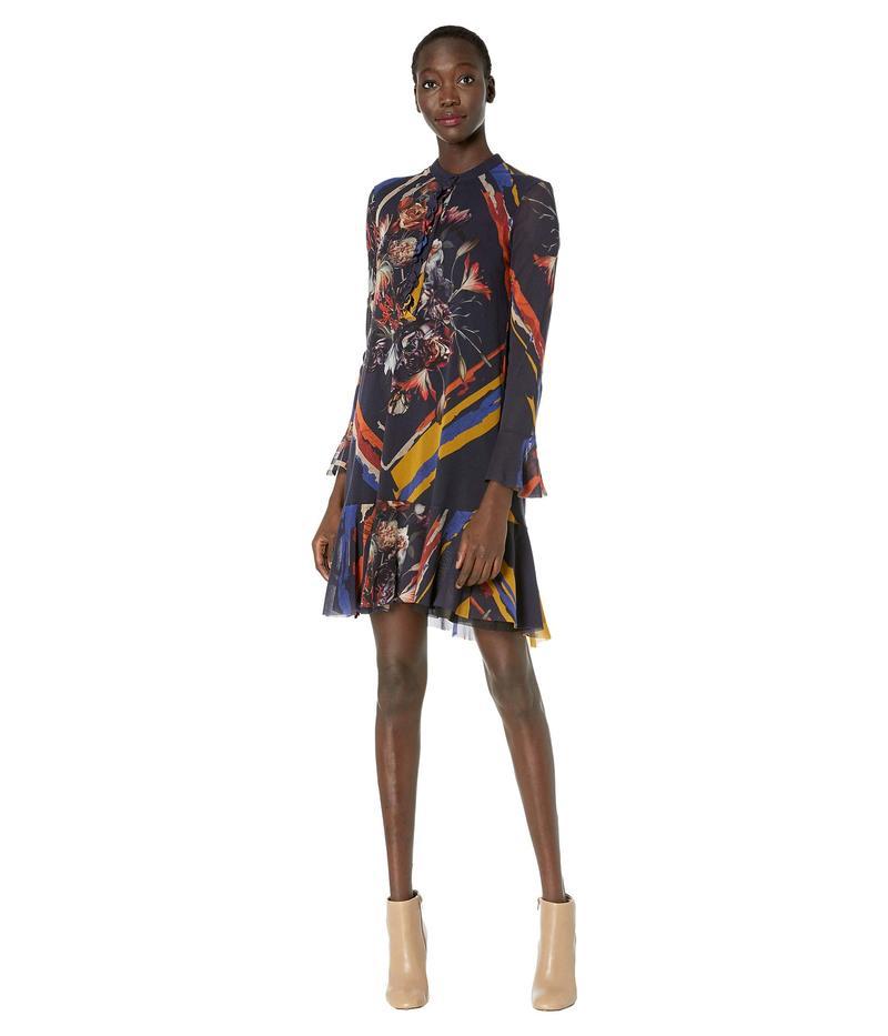 フィッジ レディース ワンピース トップス Long Sleeve Floral Button Up Short Flirty Dress Viola