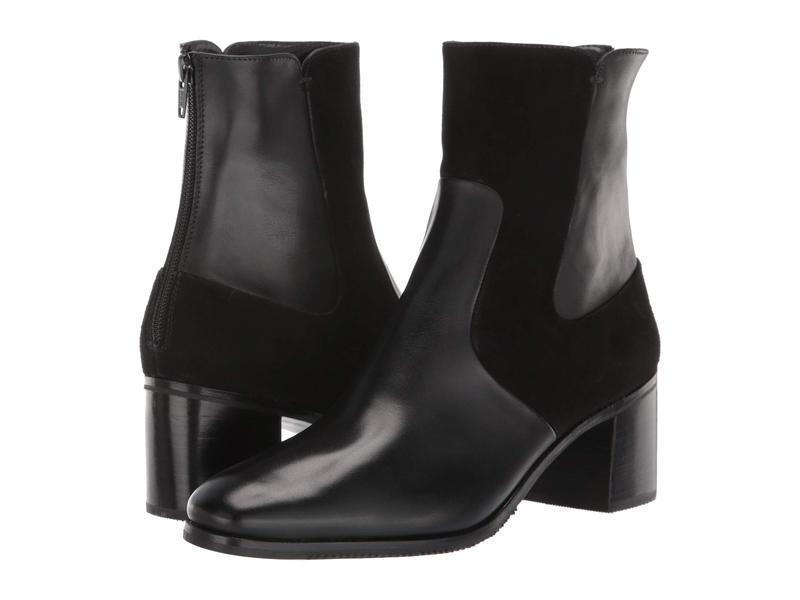グラベティ レディース ブーツ・レインブーツ シューズ Two-Tone Chunky Heel Bootie Black Calf/Suede
