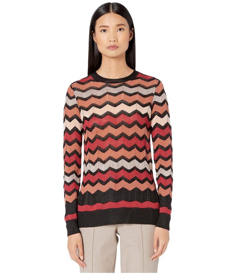 エム ミッソーニ レディース ニット・セーター アウター Long Sleeve Tunic Top in Zigzag Stitch Red/Black