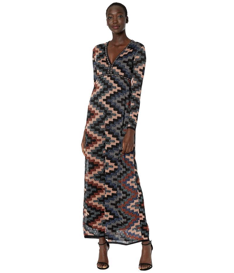 エム ミッソーニ レディース ワンピース トップス Long Sleeve Lurex Gown in Art Deco Tile Stitch Black Beauty