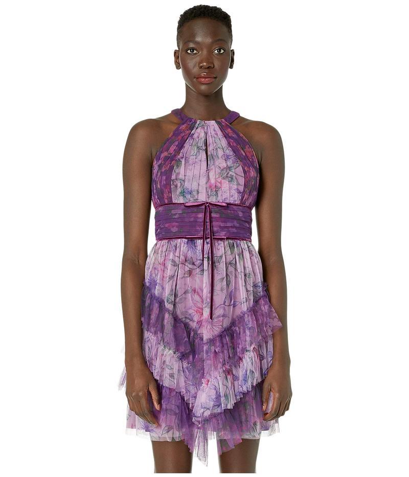 マルケサノット レディース ワンピース トップス Sleeveless Color Blocked Printed Tulle Cocktail Skirt Lilac