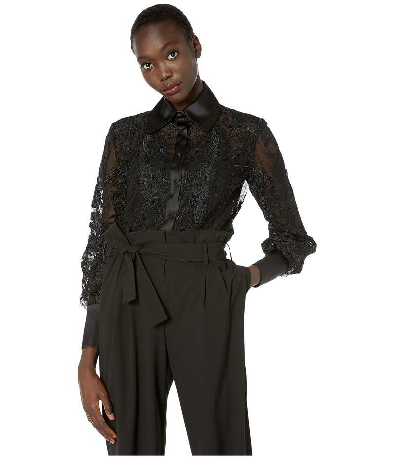 マルケッサ レディース シャツ トップス Re-Embroidered Lace Blouse Black