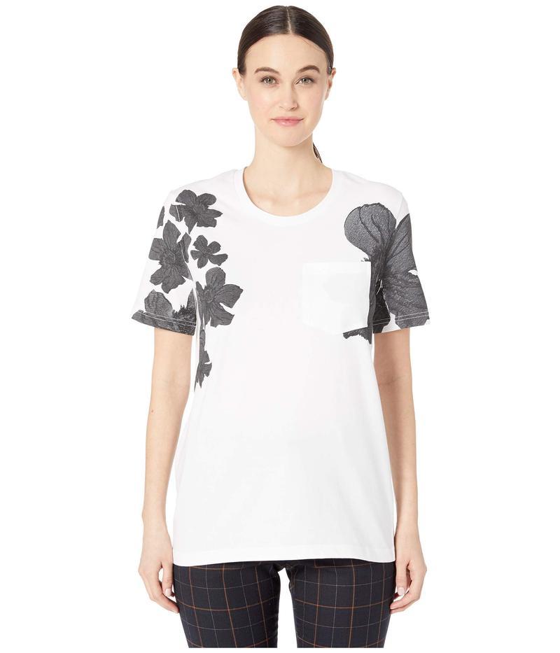 ニールバレット レディース シャツ トップス Placed Flower Print T-Shirt White/Black