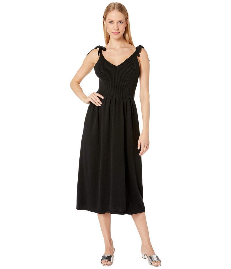 マイケルスターズ レディース ワンピース トップス Cotton Knits Maria Ribbed Knit Dress with Tie Straps Black