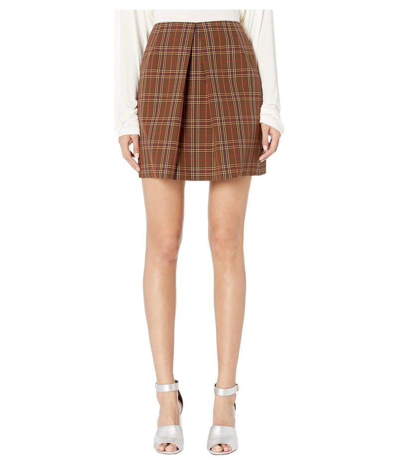 マルタンマルジェラ レディース スカート ボトムス Center Pleat Skirt Brown Check