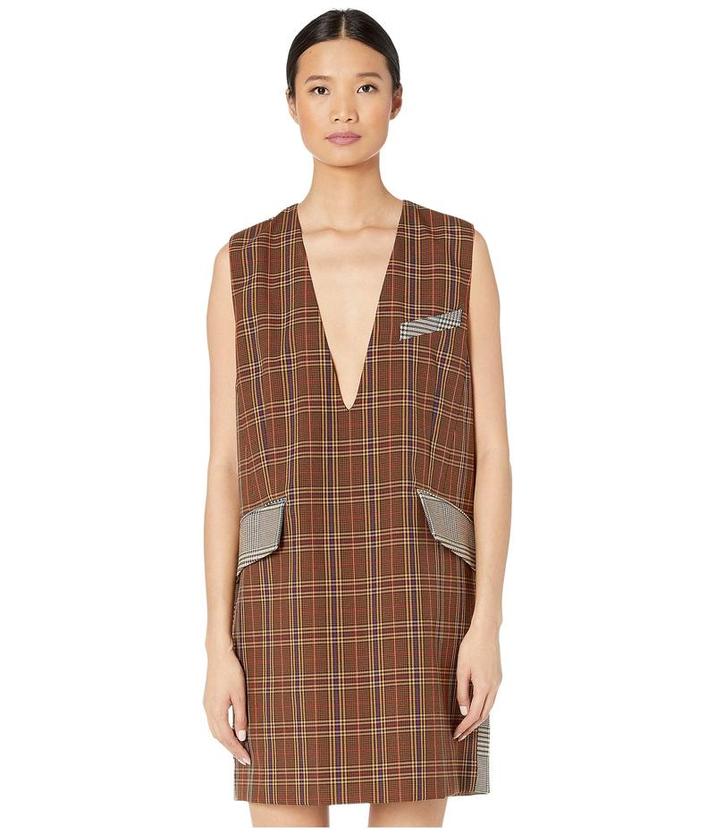 マルタンマルジェラ レディース ワンピース トップス Suiting Shift Dress Mix Brown Checks