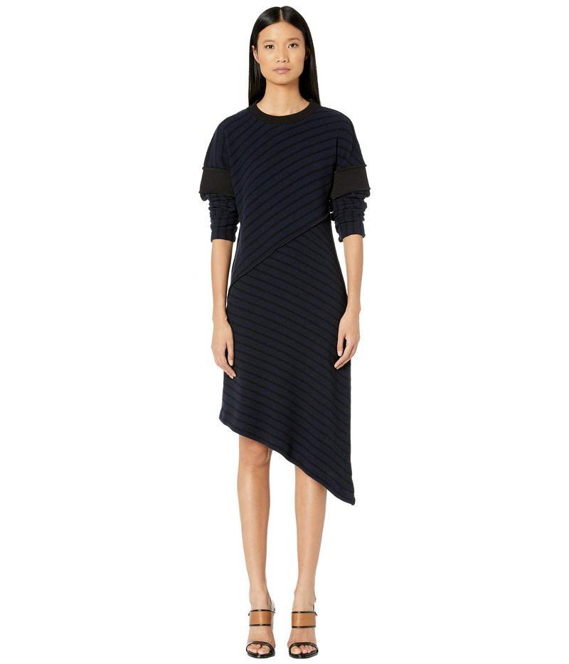 マルタンマルジェラ レディース ワンピース トップス Asymmetrical Hem Sweater Dress Dark Blue Striped/Black