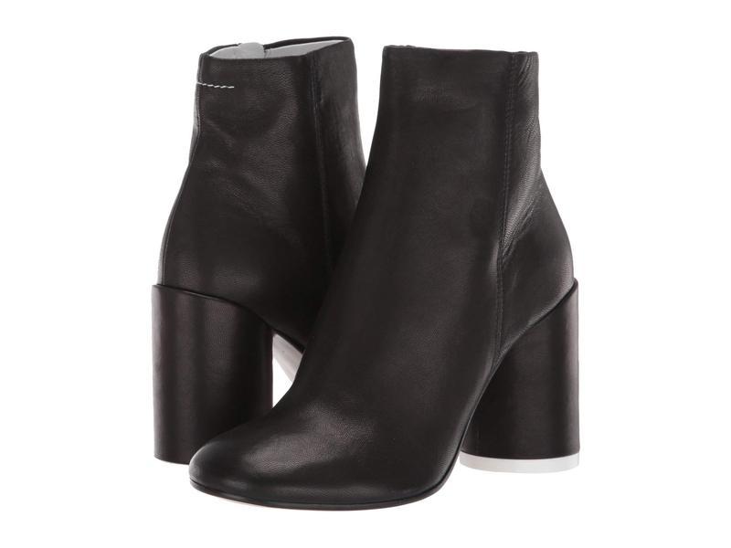 マルタンマルジェラ レディース ブーツ・レインブーツ シューズ Classic Round Heel Smooth Leather Boot Black