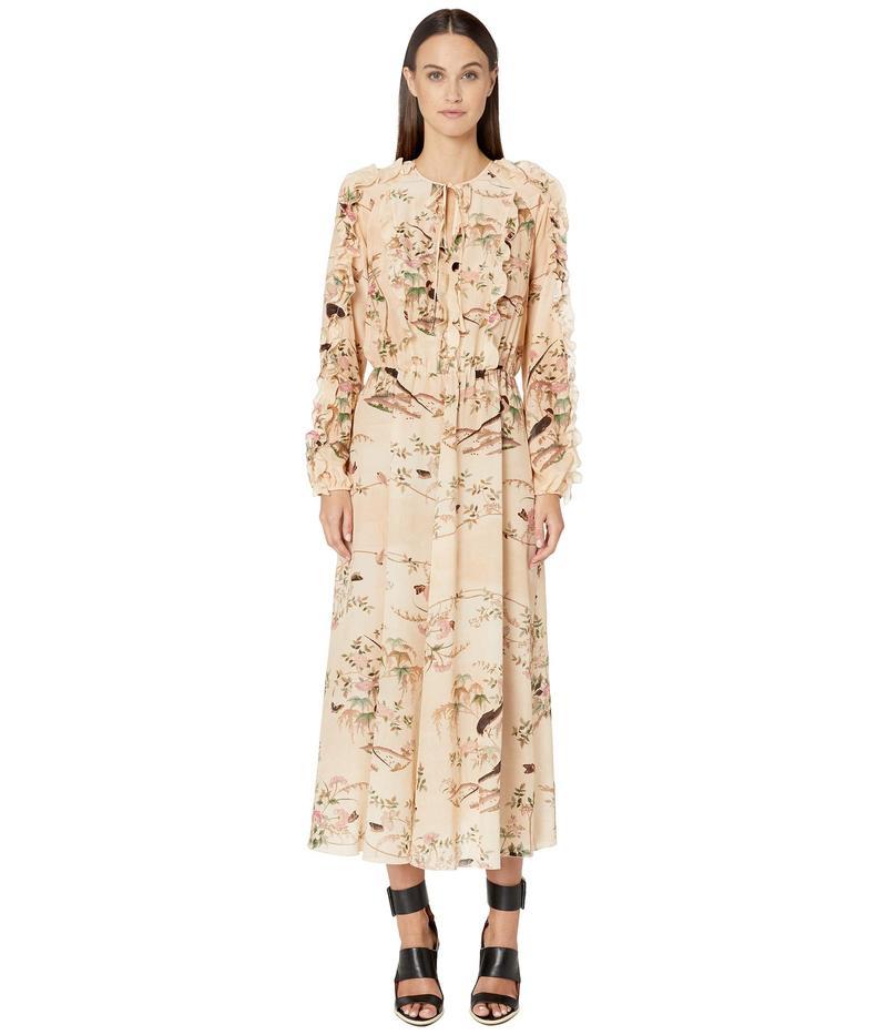 レッドヴァレンティノ レディース ワンピース トップス Oiseaux Romantiques Print Silk Crepe De Chine Dress Avorio