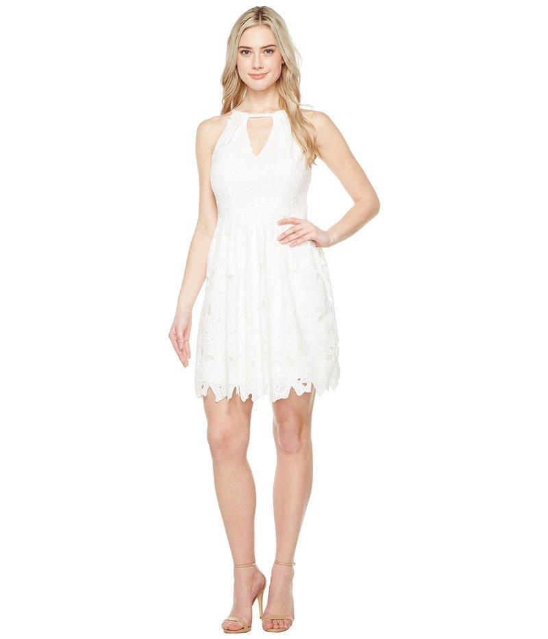 アドリアナ パペル レディース ワンピース トップス Celcilia Lace Fit and Flare Dress with Halter Neckline White