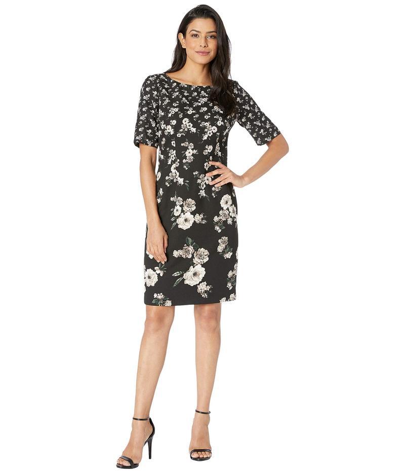 アドリアナ パペル レディース ワンピース トップス Sheath Dress in Floral Printed Single Crepe Black/Ivory/Multi