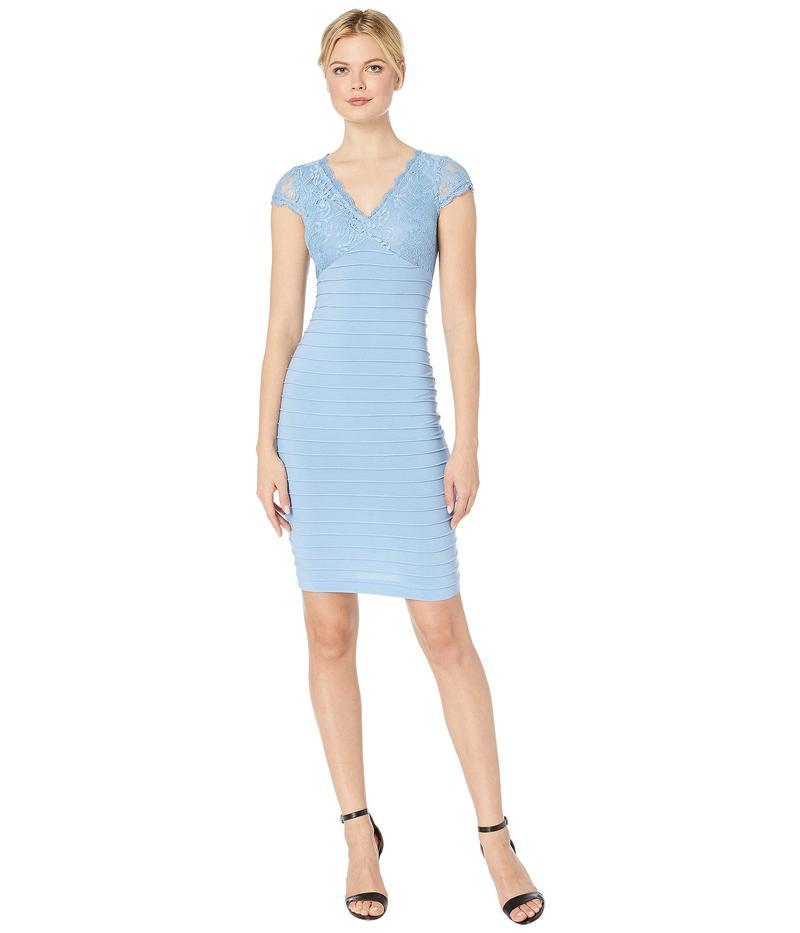 アドリアナ パペル レディース ワンピース トップス Lace Top Banded Sheath Dress Rio Blue