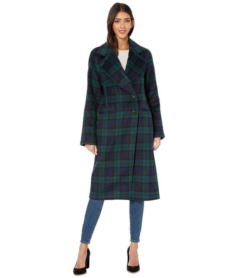 アヴェックレフィーユ レディース コート アウター Double Face Plaid Wool Raglan Coat Navy/Green