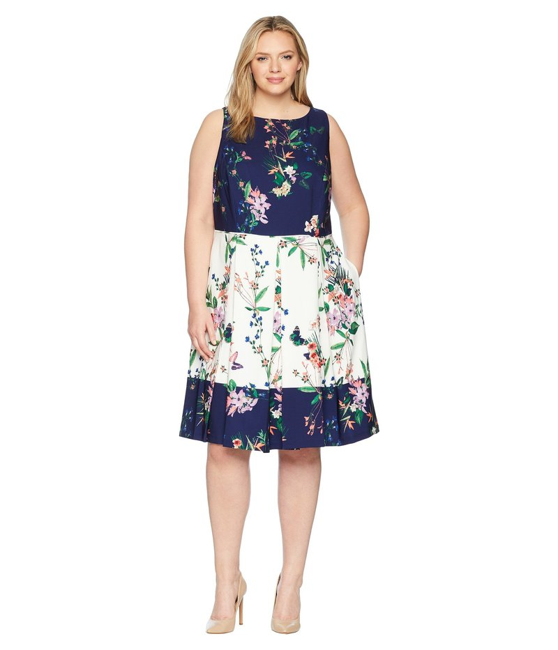 タハリ レディース ワンピース トップス Plus Size Scuba Fit-and-Flare Dress Ivory/Navy/Coral