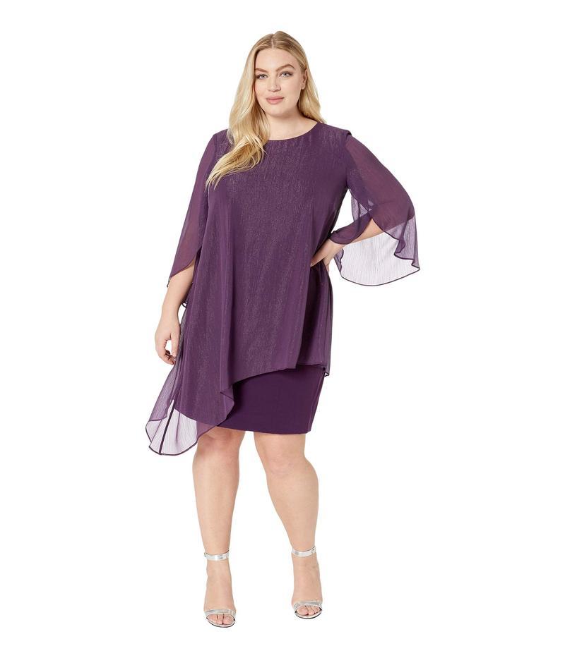 タハリ レディース ワンピース トップス Plus Size Metallic Overlay Dress Plum