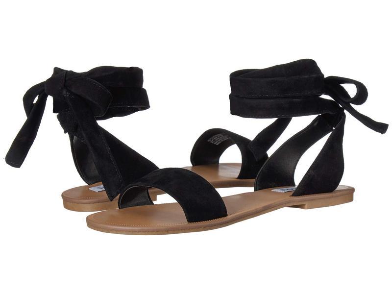 スティーブ マデン レディース サンダル シューズ Reputation Flat Sandals Black Suede