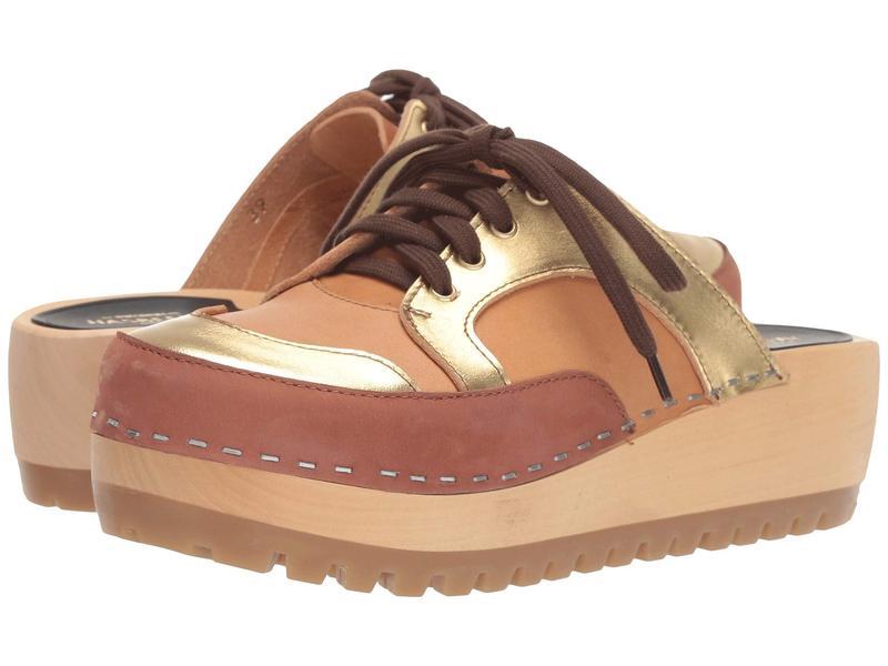 スウェディッシュハズビーンズ レディース サンダル シューズ Sneakers Clog Cognac Nubuck/Gold Combo