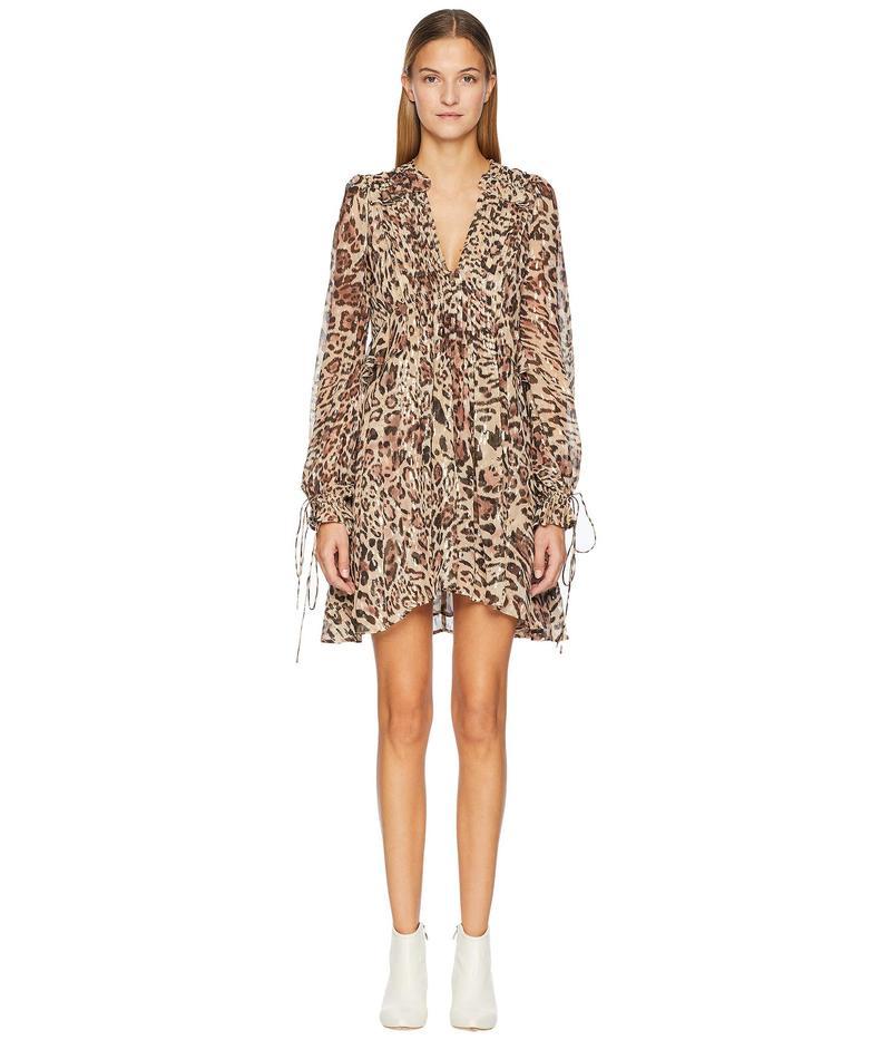 ザ・クープルス レディース ワンピース トップス Long Asymmetrical Dress In Silk Muslin Leopard