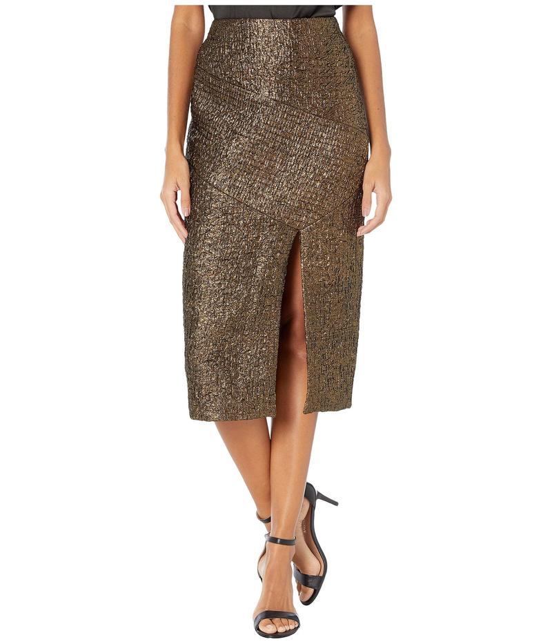 イーガルアズロベル レディース スカート ボトムス Double Face Lurex Jacquard Seamed Skirt Metalic Gold