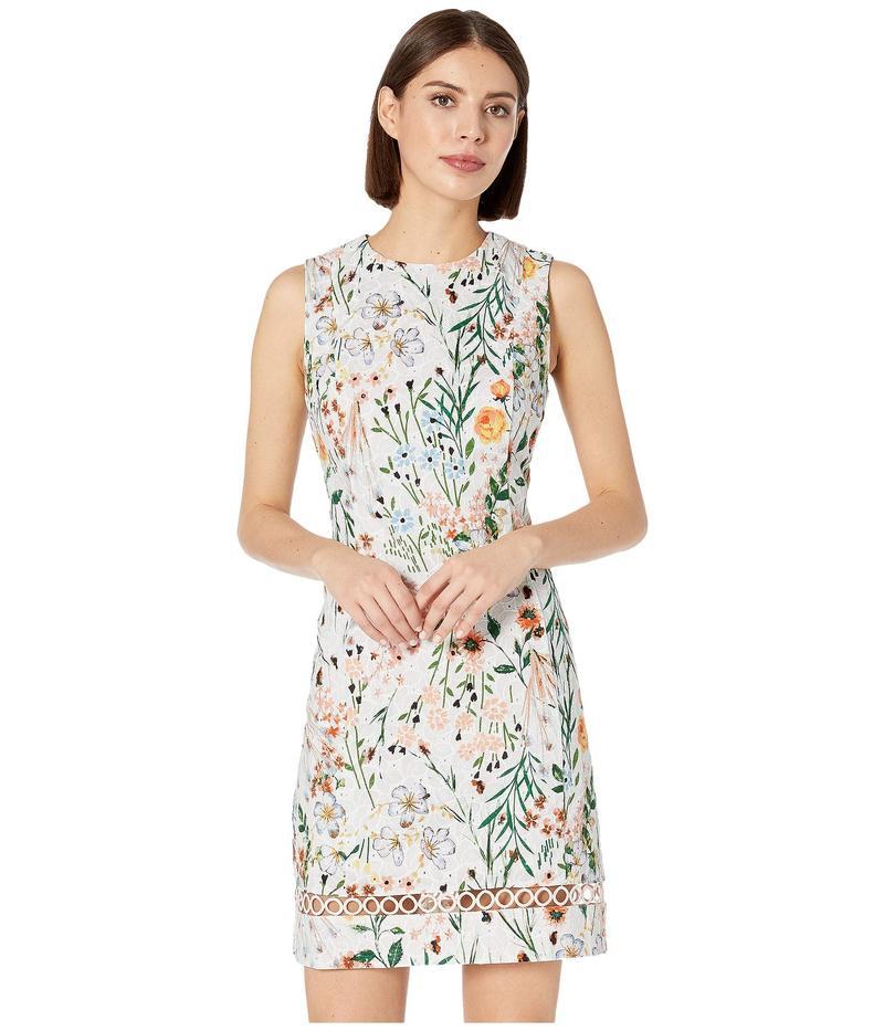 カルバンクライン レディース ワンピース トップス Floral Print Cotton Sheath Dress with Trim Detail Peach Multi