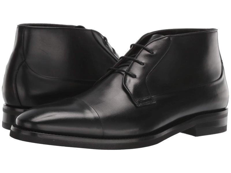 カナーリ メンズ ブーツ・レインブーツ シューズ Calf Cap Toe Lace-Up Ankle Boot Black