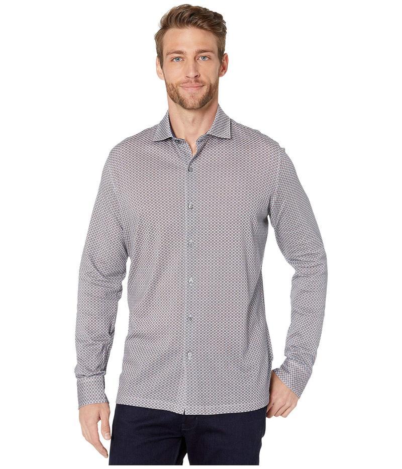 ブガッチ メンズ シャツ トップス Delft Knit Long Sleeve Full Front Button-Down Spread Collar Air Blue