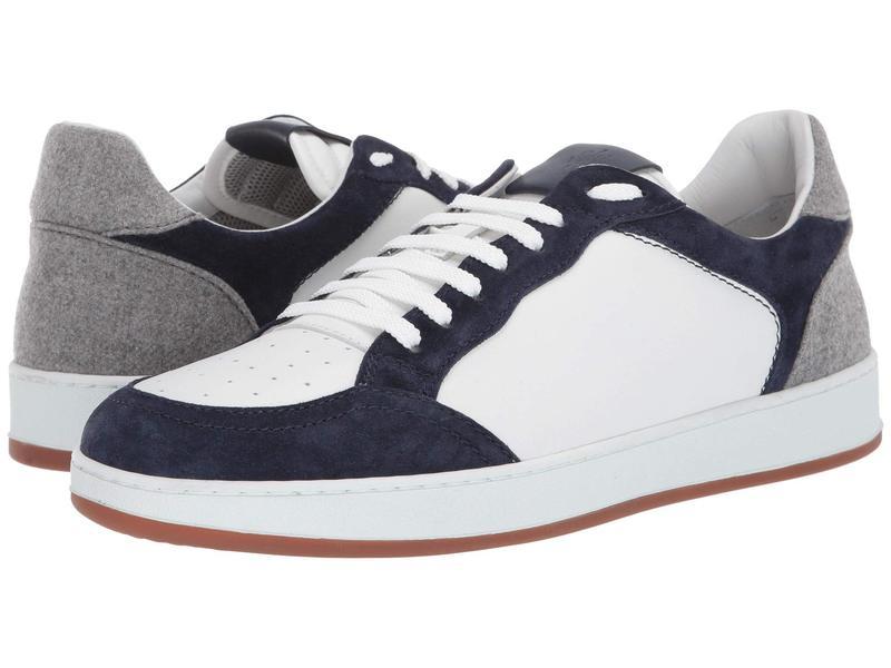 イレブンティ メンズ スニーカー シューズ Leather Sneaker with Suede Contrast Blue