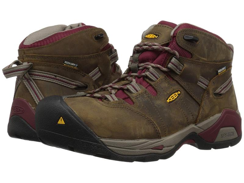 キーン レディース ブーツ・レインブーツ シューズ Detroit XT Mid Steel Toe Waterproof Black Olive/Tawny Red