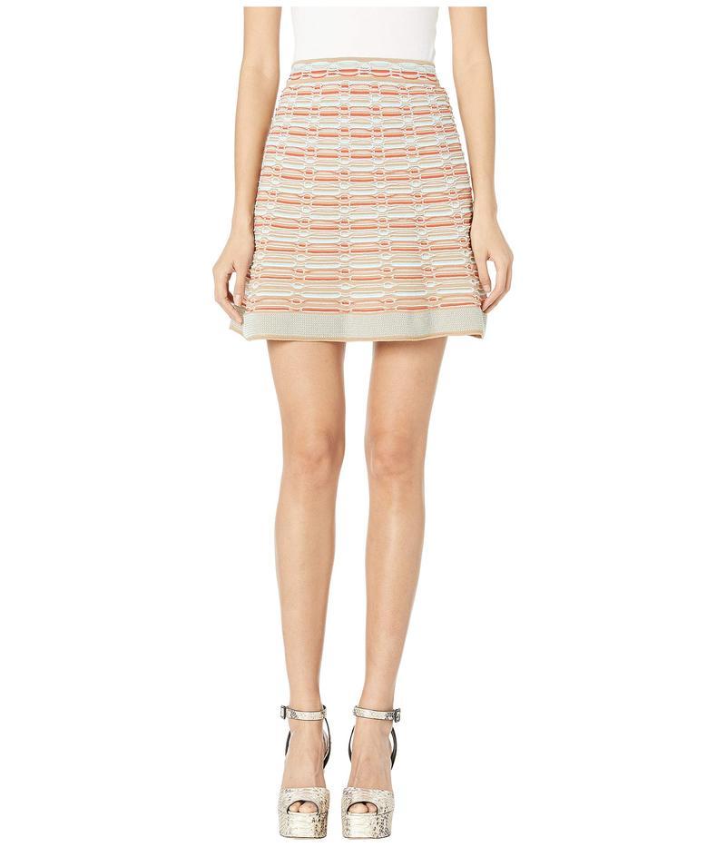 エム ミッソーニ レディース スカート ボトムス Short Skirt with Oval Stitch Detail Red/Sand Multi