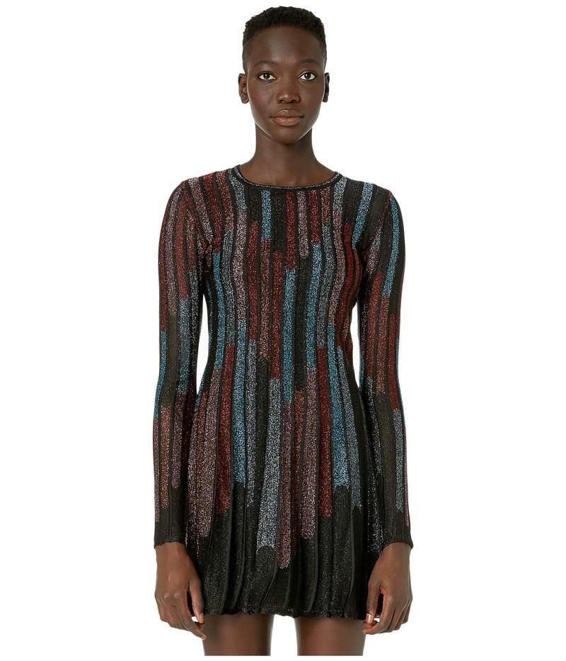 エム ミッソーニ レディース ワンピース トップス Long Sleeve Short Dress in Broken Stripe Lurex Grey/Black