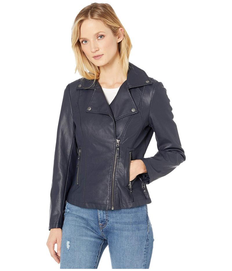 マックススタジオ レディース コート アウター Faux Leather Moto Jacket Navy
