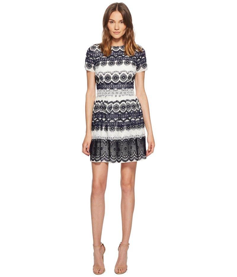 モニーク ルイリエ レディース ワンピース トップス Short Sleeve Lace Print Dress Navy Combo