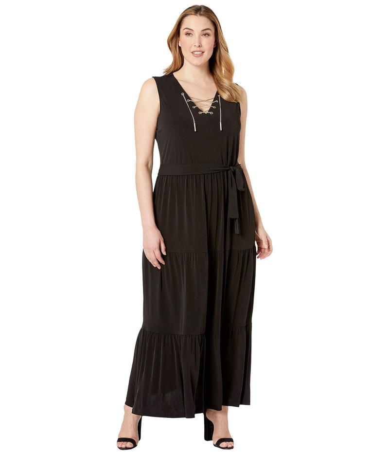 マイケルコース レディース ワンピース トップス Plus Size Chain Lace-Up Maxi Dress Black