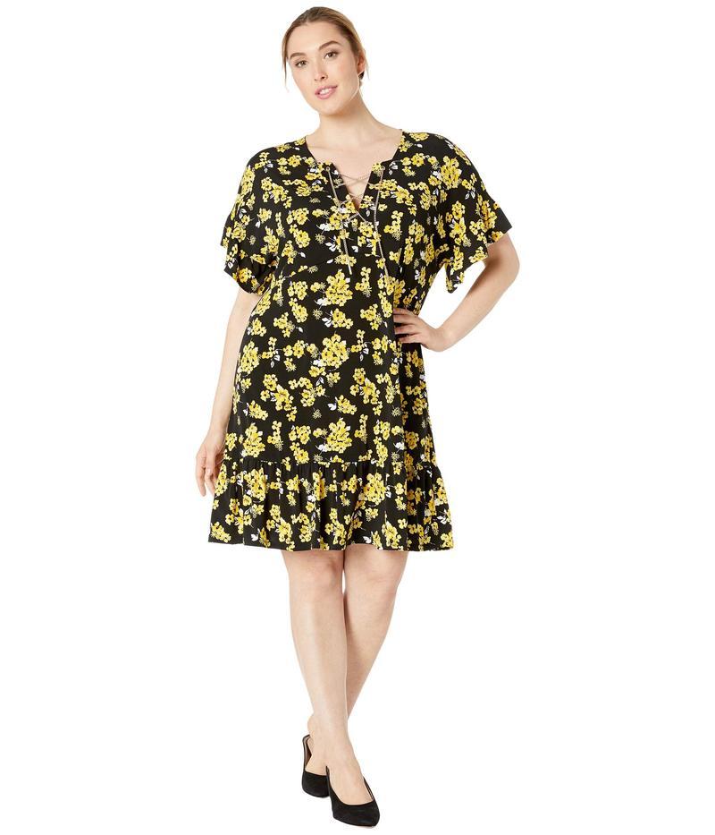 マイケルコース レディース ワンピース トップス Plus Size Glam Painterly Lace-Up Chain Dress Black/Golden Yellow