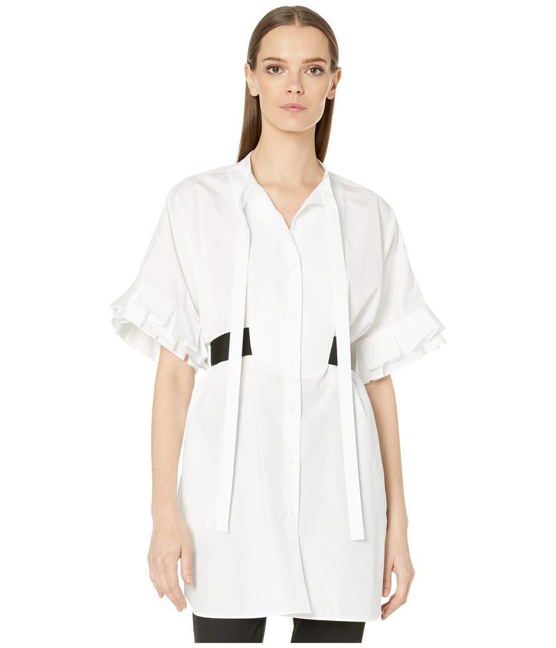 ニールバレット レディース シャツ トップス Frill Sleeve Stretch Cotton Poplin Tunic Shirt White