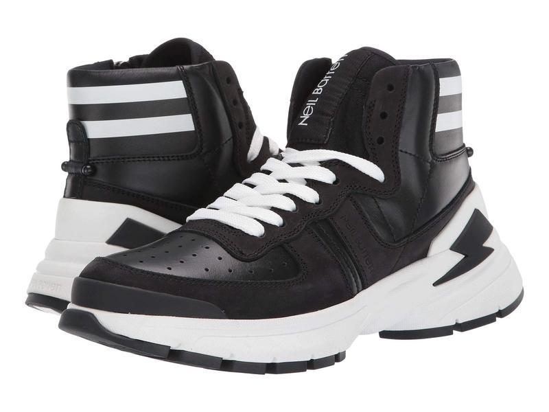 ニールバレット メンズ スニーカー シューズ Varsity Bolt High Top Sneaker Black/White