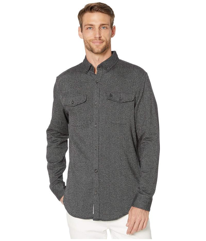 オリジナルペンギン メンズ シャツ トップス Long Sleeve Jaspe Flannel Shirt True Black