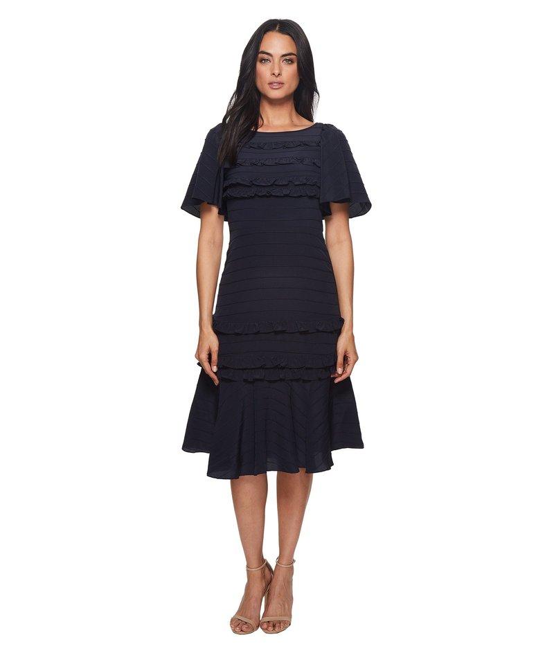 レベッカテイラー レディース ワンピース トップス Short Sleeve Silk & Lace Dress Navy/Black