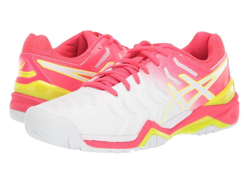アシックス レディース スニーカー シューズ Gel-Resolution 7 White/Laser Pink