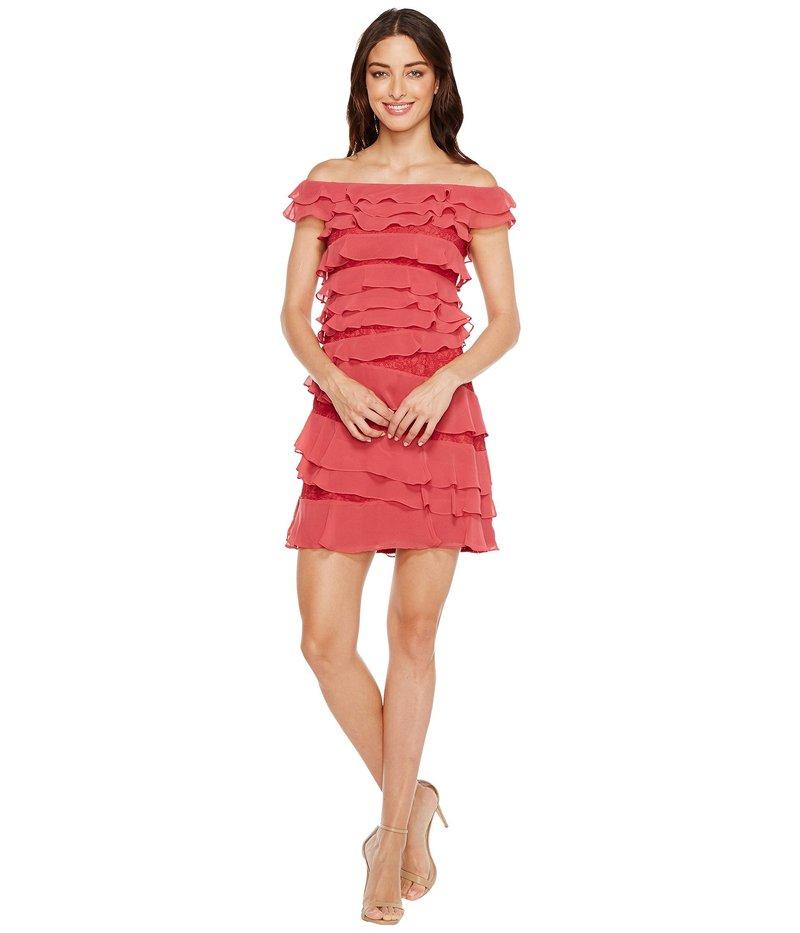 アドリアナ パペル レディース ワンピース トップス Cynthia Lace Off the Shoulder Tiered Dress Amaranth