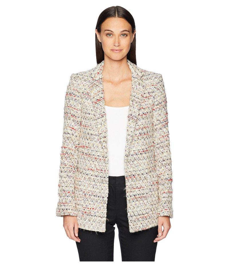 アダム リピズ レディース コート アウター Cotton Tweed Long Blazer Ivory Multi