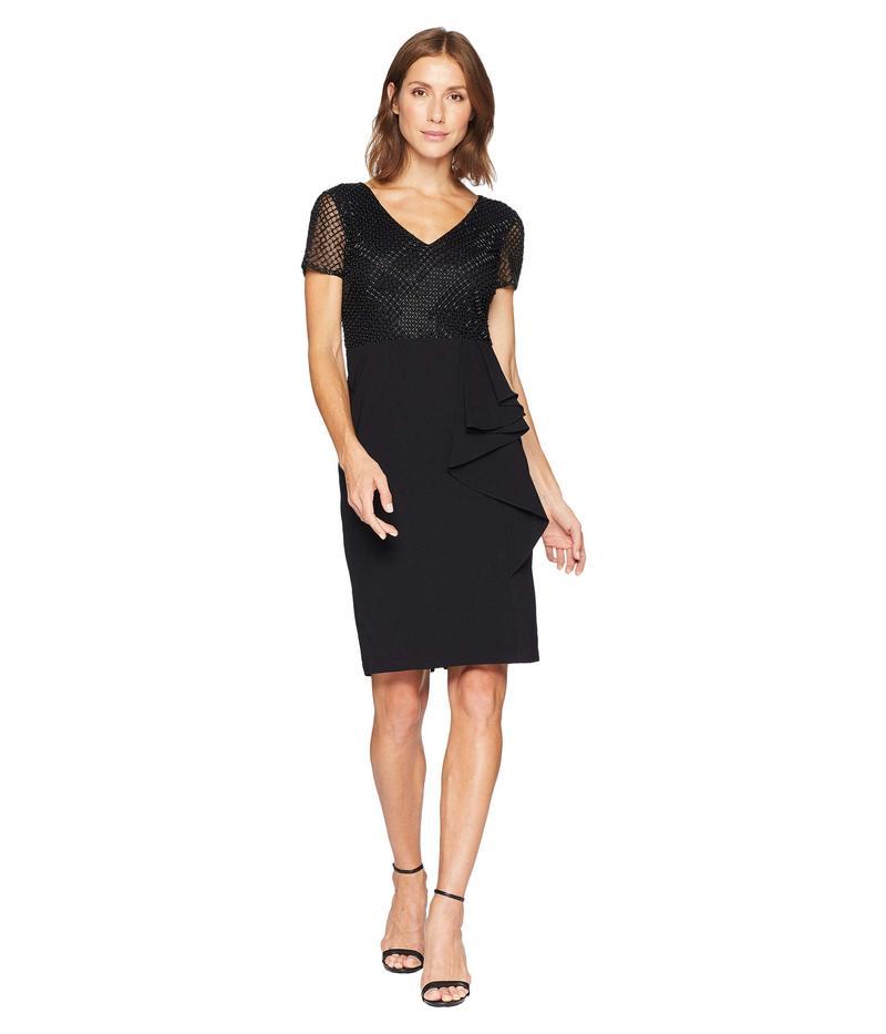 アドリアナ パペル レディース ワンピース トップス Short Sleeve Beaded Bodice with Stretch Crepe Cascade Skirt Black
