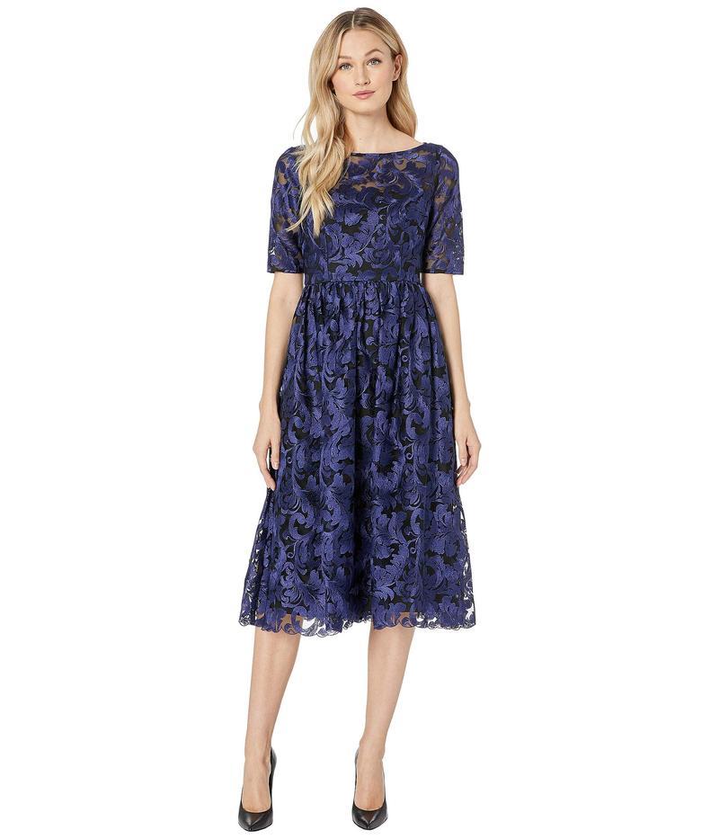 アドリアナ パペル レディース ワンピース トップス Embroidered Dress Blue Violet