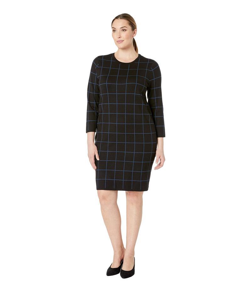 アンクライン レディース ワンピース トップス Plus Size Long Sleeve Crew Neck Printed Knit Dress Anne Black/Juniper