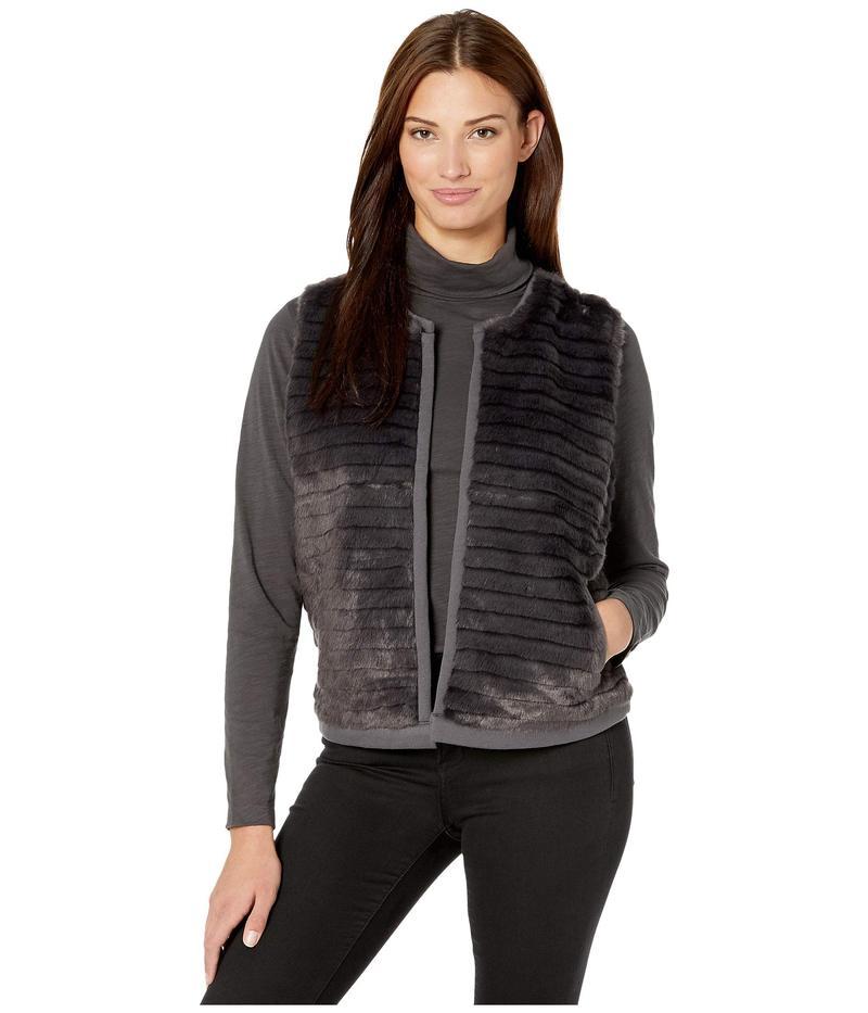トリバル レディース コート アウター Faux Fur Vest w/ Knit Back Steel Grey
