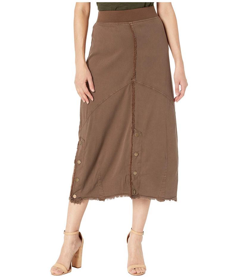 エックスシーブイアイ レディース スカート ボトムス Snap Detail Skirt in Aloe Twill Hickory Pigment