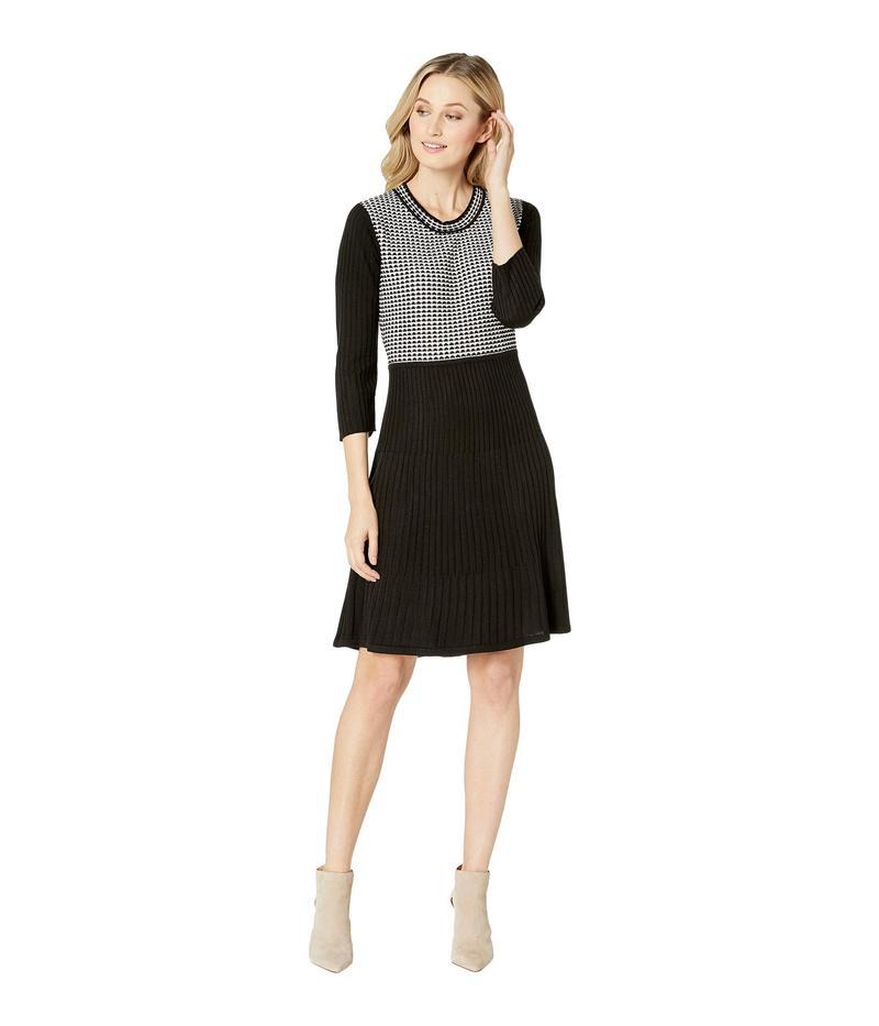 カルバンクライン レディース ワンピース トップス Long Sleeve Sweater Dress Black/White